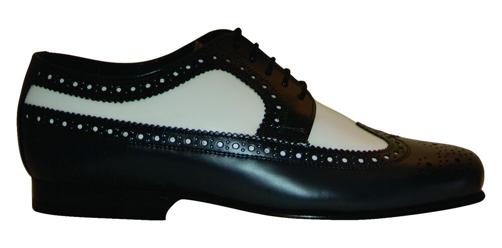 black and white wingtips vintage style spectator shoes