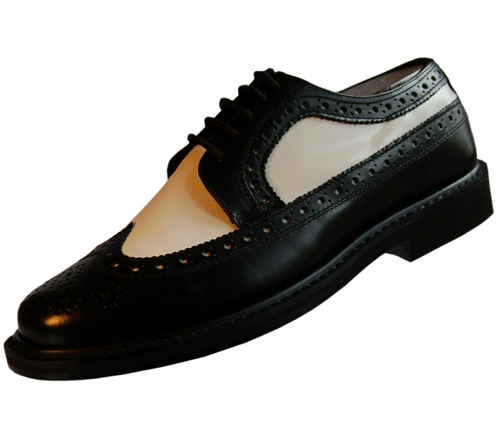 mens black and white spectator thick sole shoe ebay