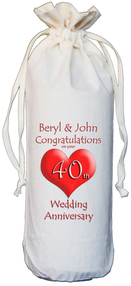 personalised 40th wedding anniversary bottle bag ruby ebay. Black Bedroom Furniture Sets. Home Design Ideas