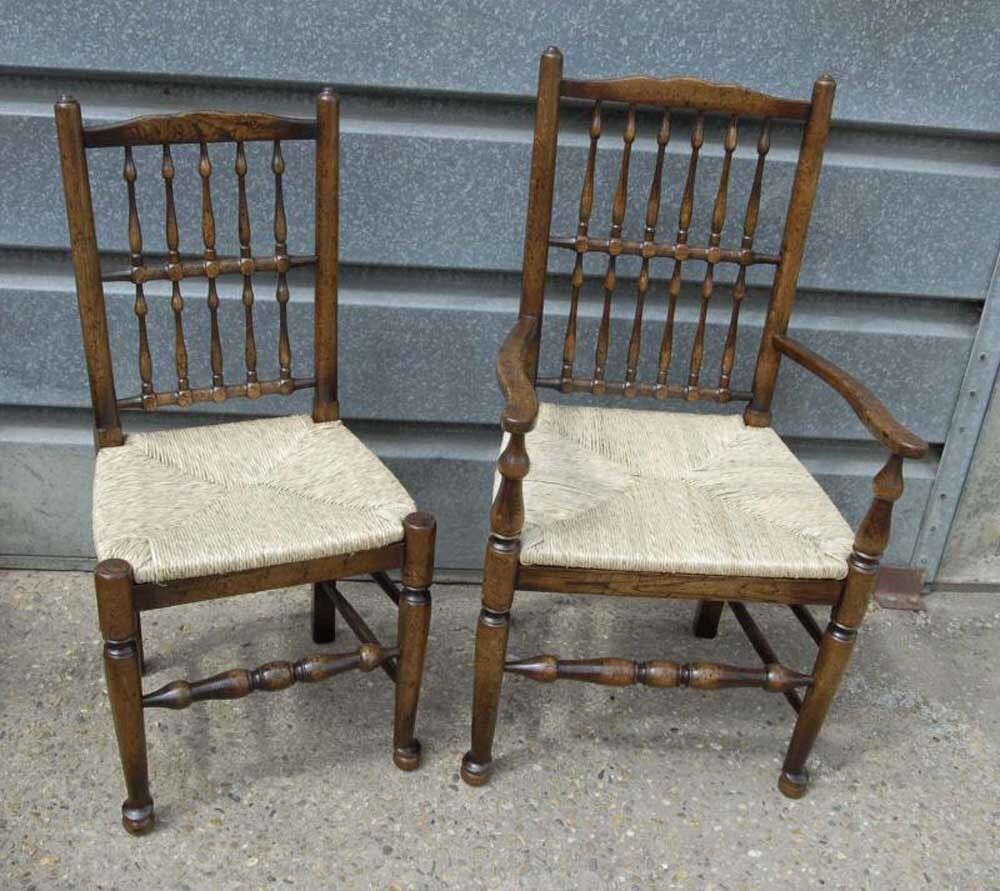 pair oak spindleback kitchen chairs country farmhouse ebay. Black Bedroom Furniture Sets. Home Design Ideas