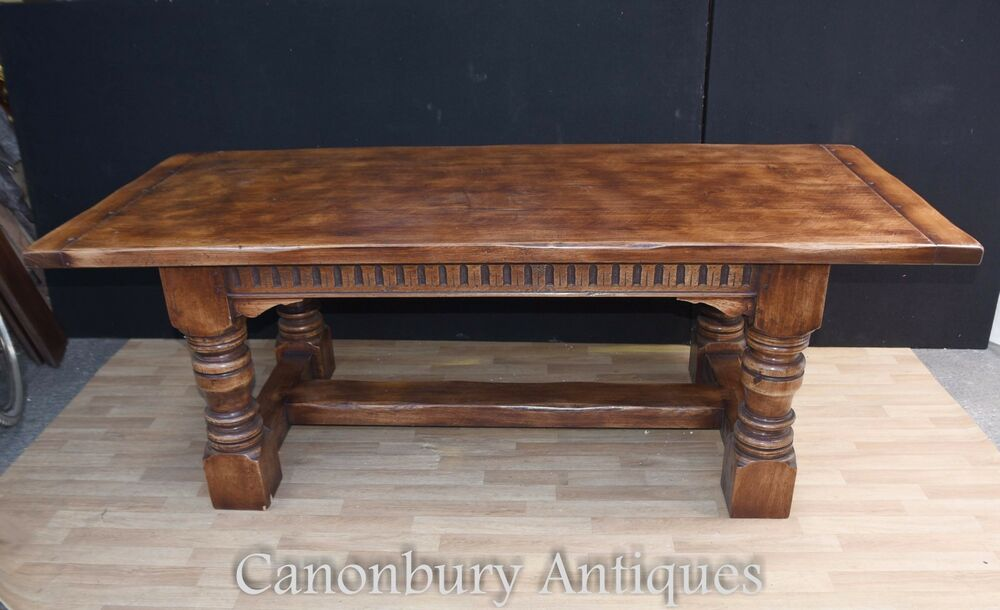 7ft farmhouse refectory kitchen table oak table english ebay for Oak kitchen table