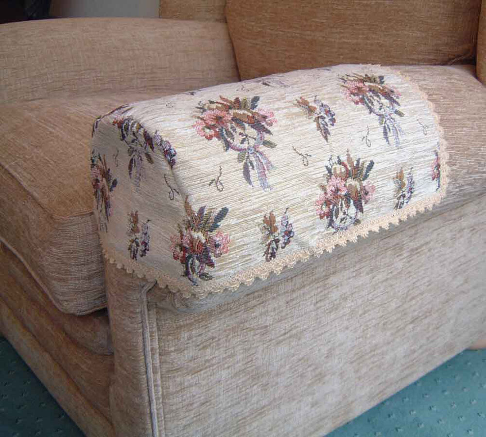 PAIR BOUQUET ARM CAPS/COVERS FOR CHAIRS/SETTEES. JUMBO | eBay