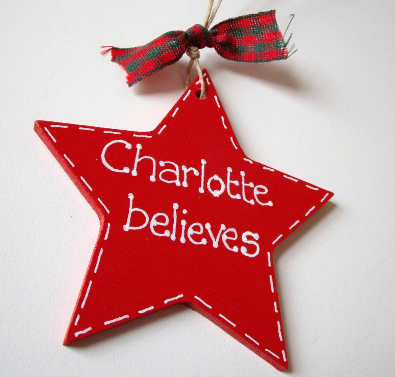 Large Personalised Red Wooden Star Christmas Decoration