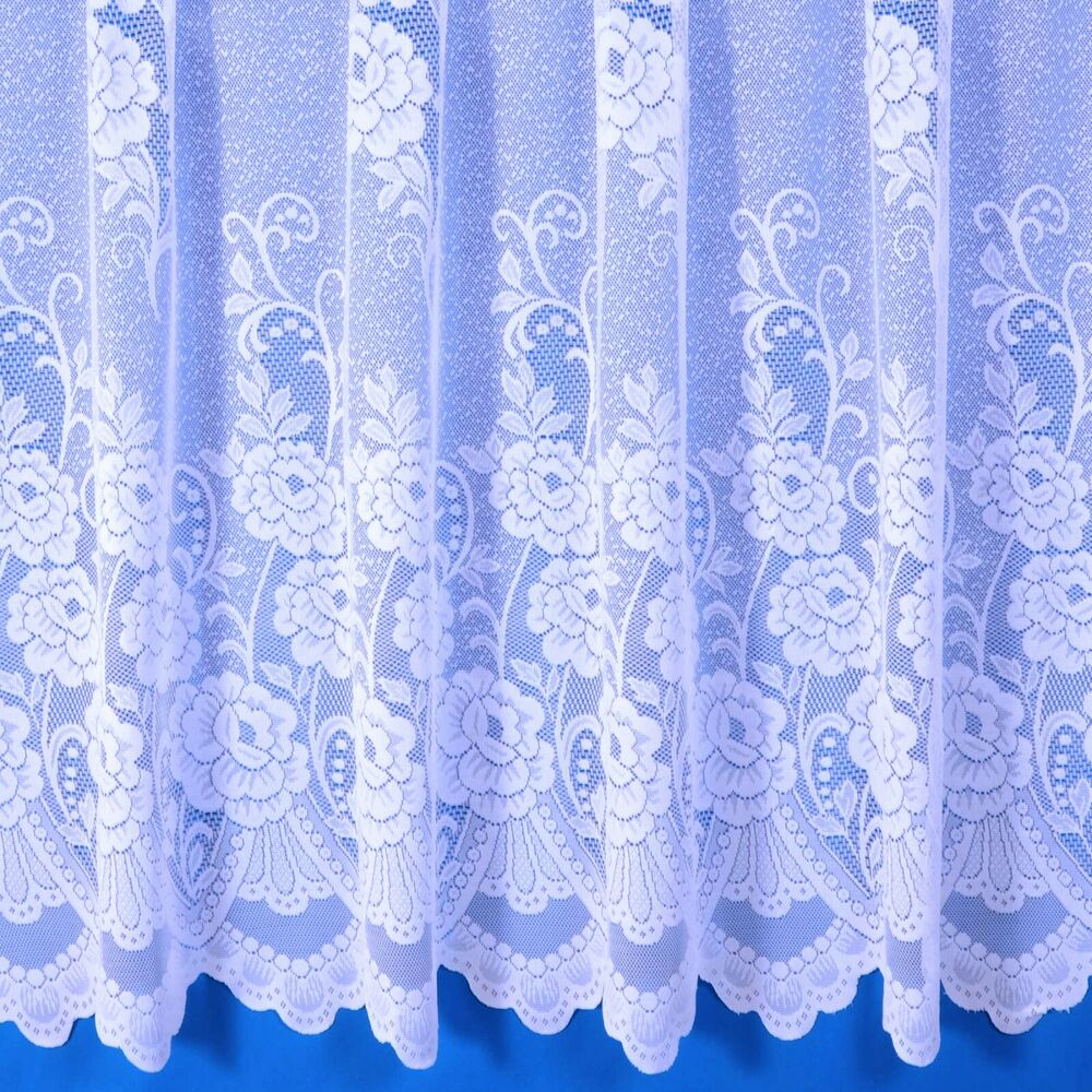 Sally Jacquard Net Curtain In White Sold By The Metre