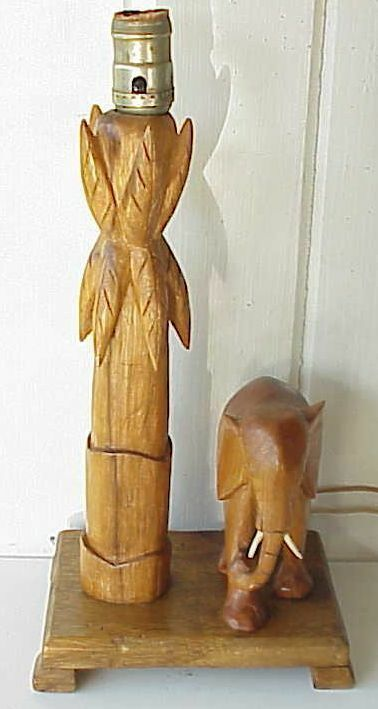 Antique African Elephant Carved Wood Lamp Ebay