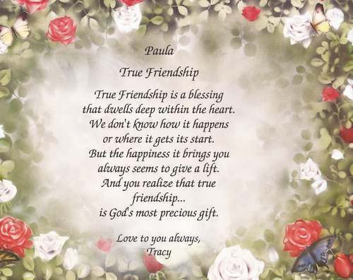 Personalized True Friendship Poem Choose Art Background