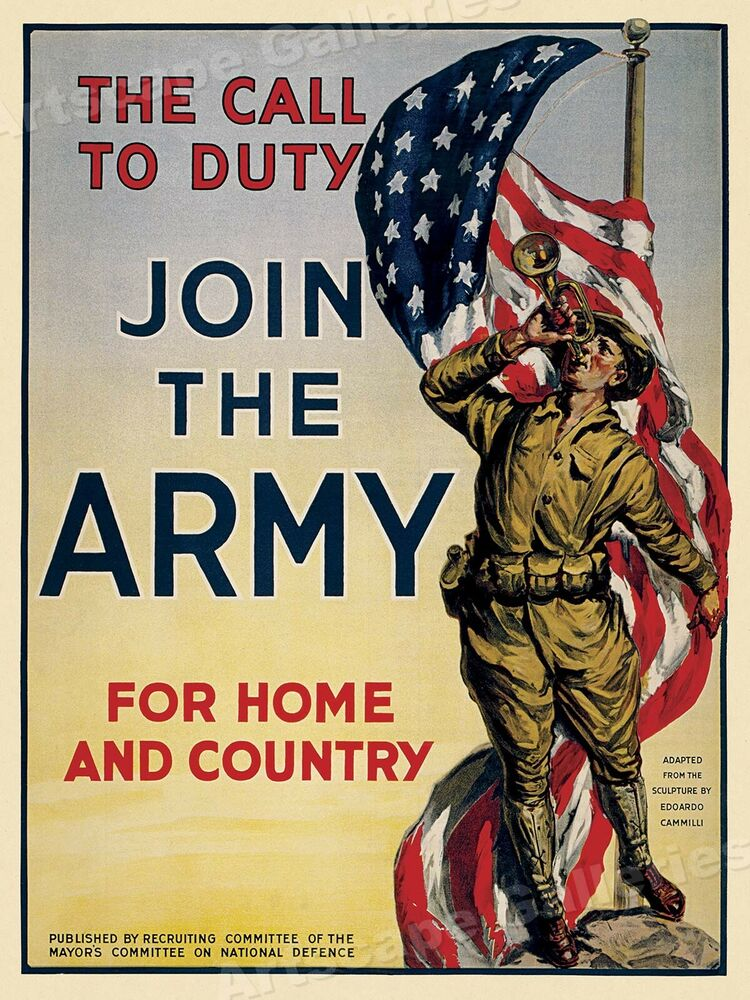 The Call To Duty - Join the Army - 1917 US Army WWI Recruiting Poster - 24x32 | eBay