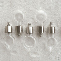5 Vial Pendants (vials/ glass/ bottles) LARGE HEARTDROP