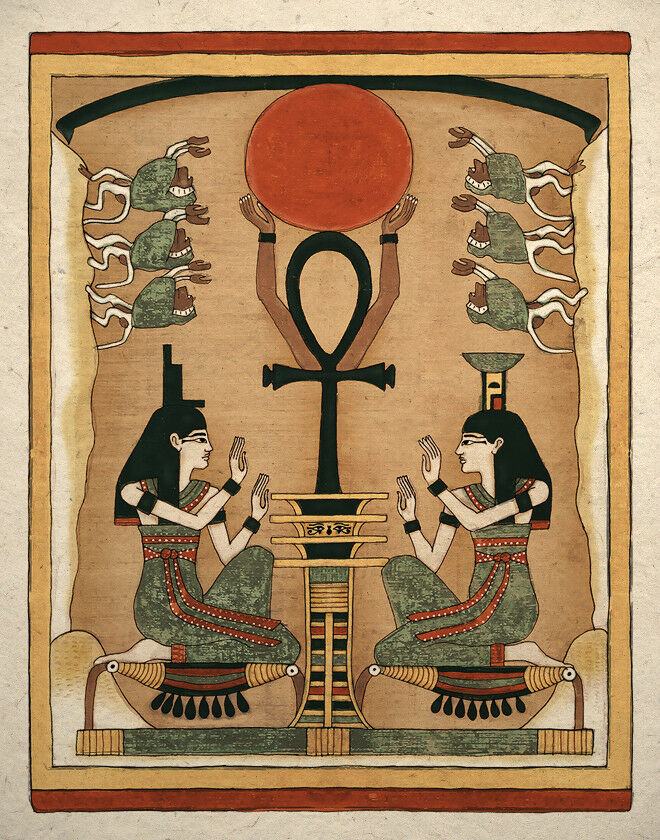 Egyptian art print ancient goddess is and nephthys wall for Ancient egypt decoration