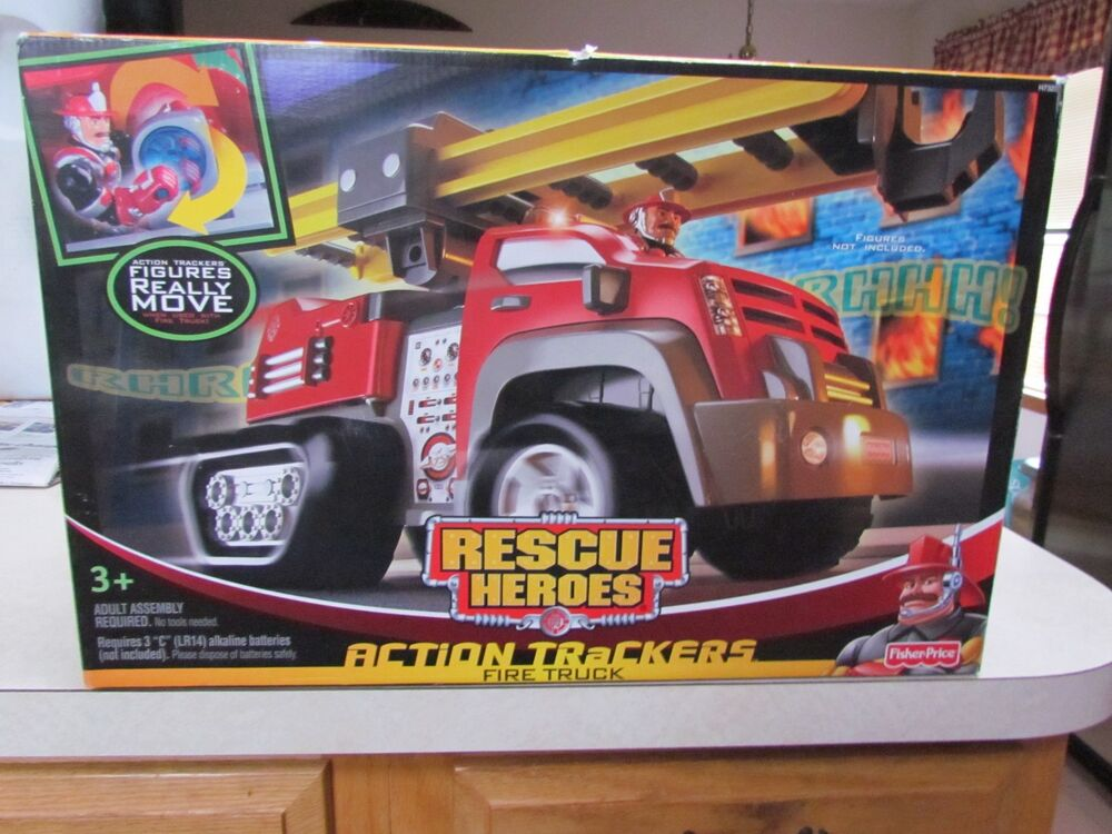 2005 Fisher Price Rescue Heroes Action Trackers Fire Truck ~ Mint in the Box!   eBay