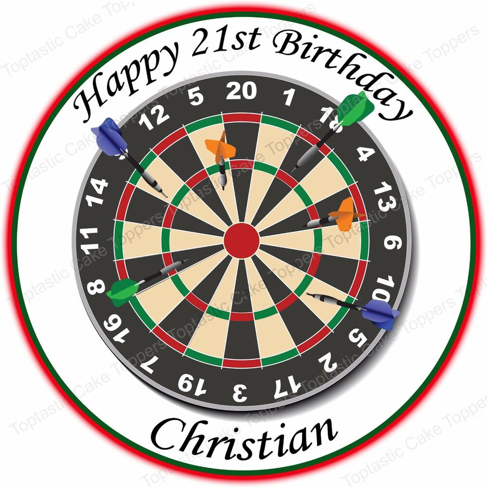 Personalised Darts Sport Dart Board Edible Icing Birthday Party Cake