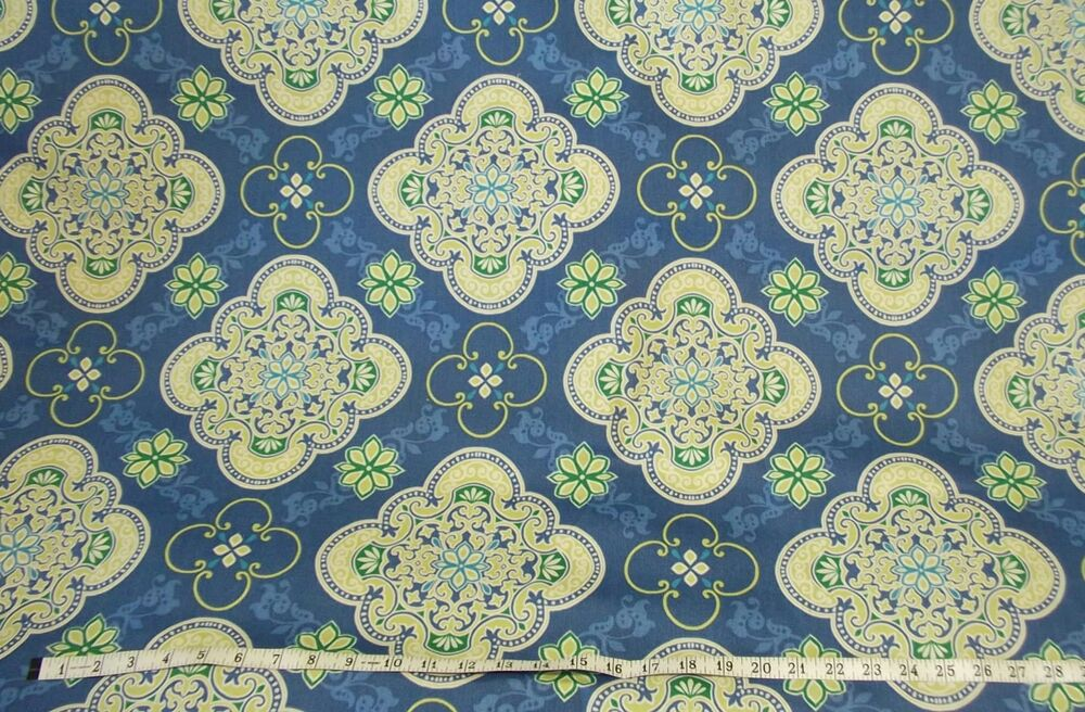 Blue Green White Medallion Tile Print Outdoor 54 Home