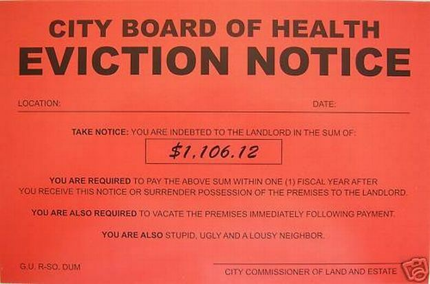 Humiliating Prank Sign BOARD OF HEALTH EVICTION NOTICE | EBay