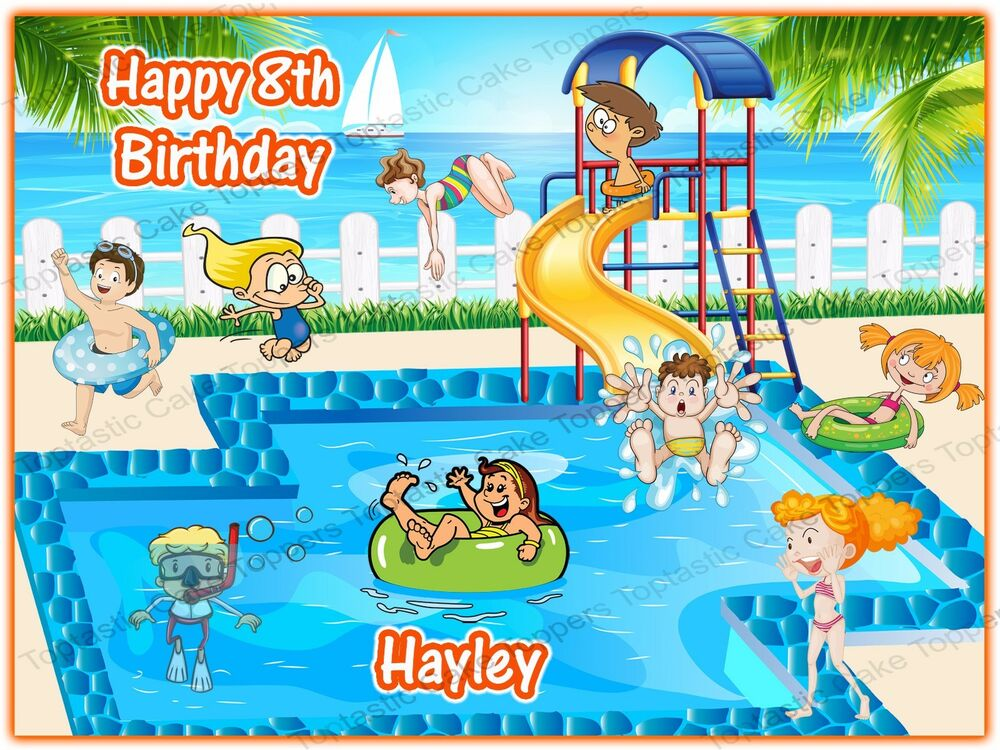 Personalised Swimming Pool Party Icing Cake Topper Ebay