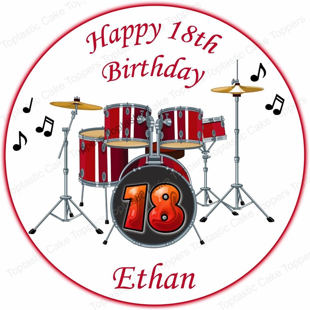 Personalised Red Drum Kit Edible Icing Cake Topper