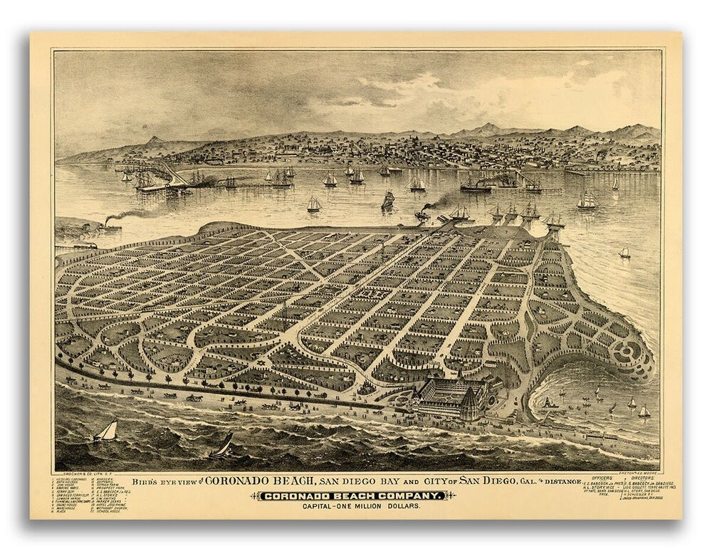 Offer Up San Diego >> 1880 Coronado Island California Vintage Old Panoramic City ...