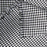 ACRYLIC CLOTHES UNIFORM FABRIC TINY VINTAGE HOUNDSTOOTH CHECK BLACK WHITE 44'W