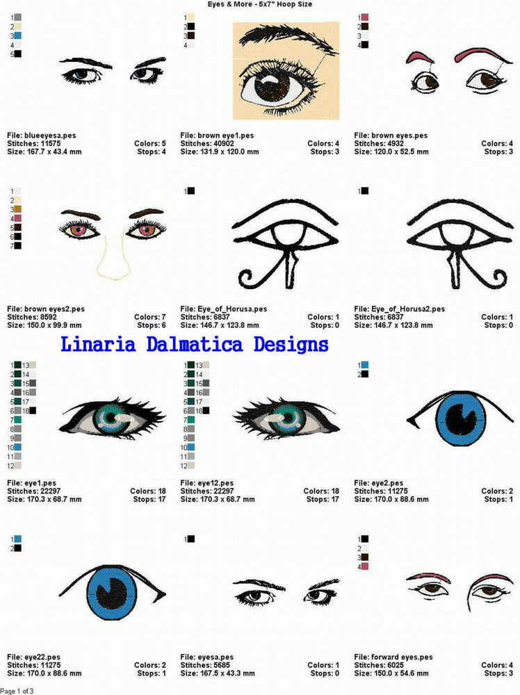 Eyes more 5x7 ld machine embroidery designs ebay for Embroidery office design version 7 5