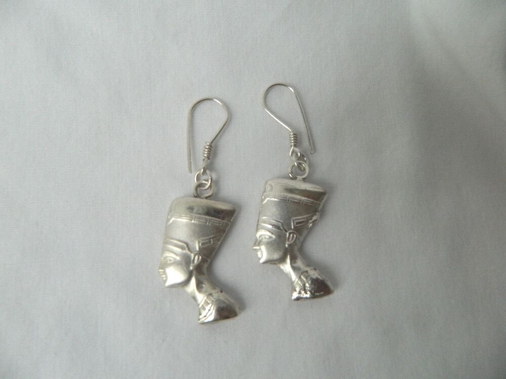 two earrings sterling silver nefertiti sided 918