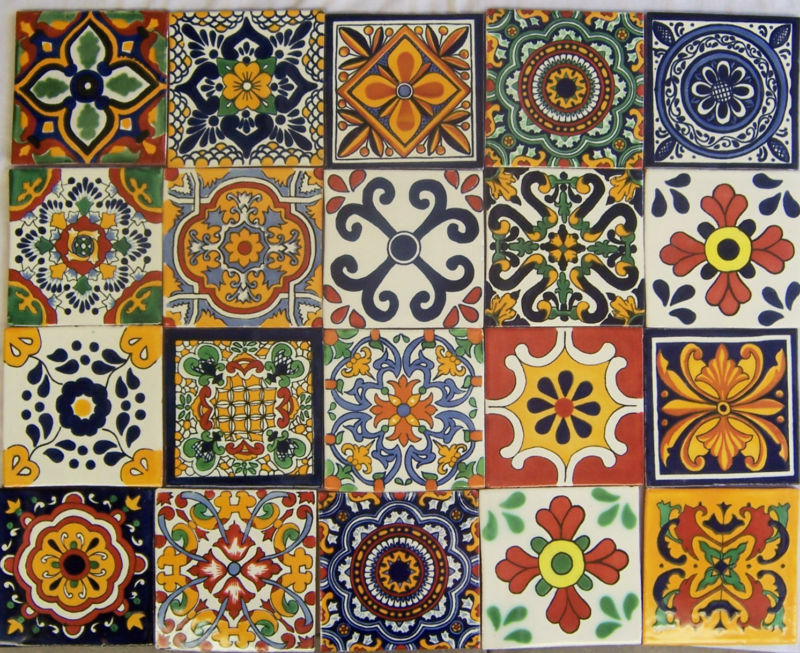 40 Mexican Talavera Tiles Ceramic Mix Patterns 6x6 Stairs