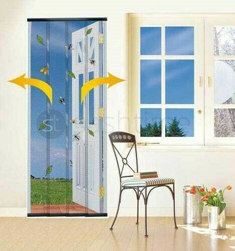 insect fly screen wasp patio door draught curtain w b ebay. Black Bedroom Furniture Sets. Home Design Ideas