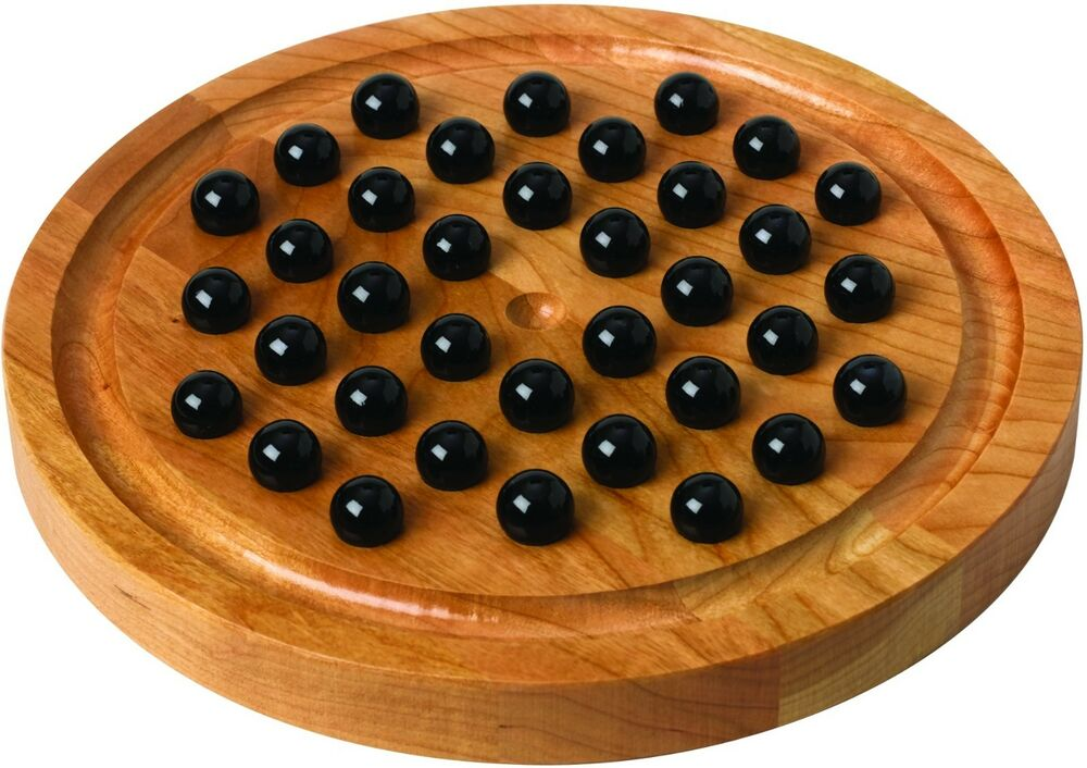 New Game Wooden Marble Solitaire How To Play Cherry Wood