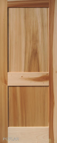 2 panel flat poplar shaker mission stain grade solid core wood interior doors ebay for Solid wood panel interior doors