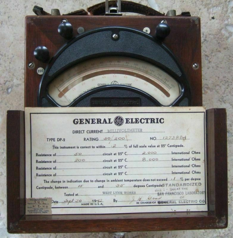 Electrical Test Equipment : General electric vintage millivoltmeter dp rare test