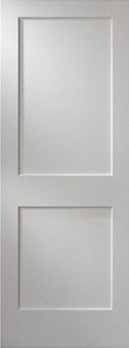 2 Panel Flat Primed Mission Shaker Stile Rail Solid Core Wood Doors Prehung Ebay