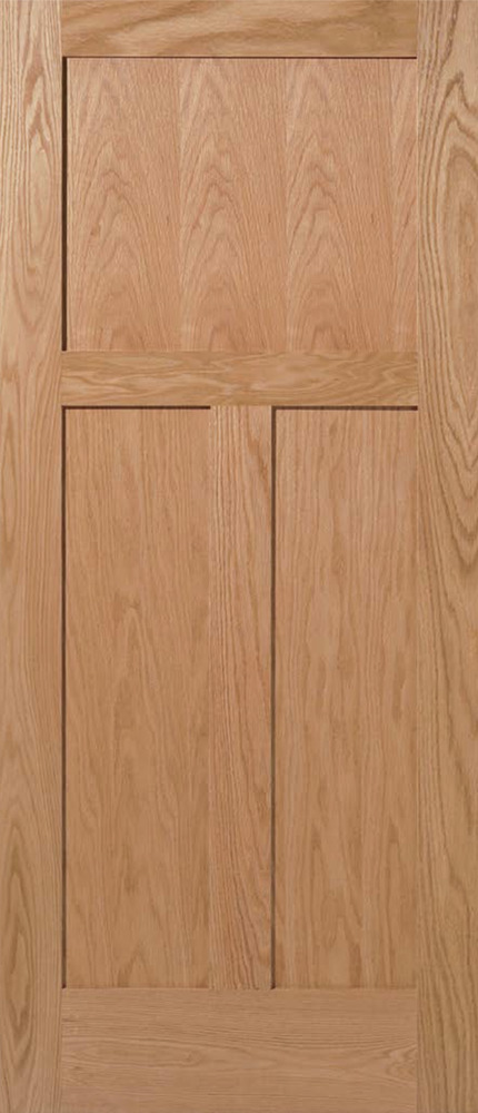 3 panel flat mission shaker red oak solid core stain grade for Solid oak doors