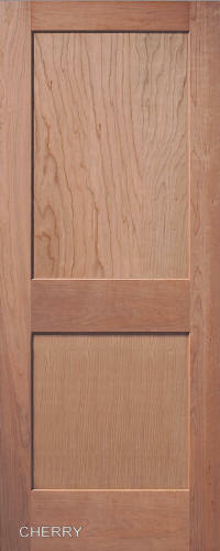 2 panel flat mission shaker cherry stain grade solid for Flat solid wood door