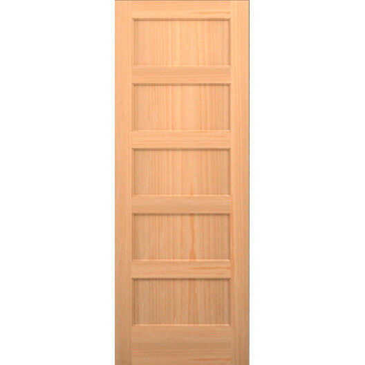 Clear pine 5 panel flat mission shaker staingrade solid core interior wood doors ebay for Solid wood panel interior doors