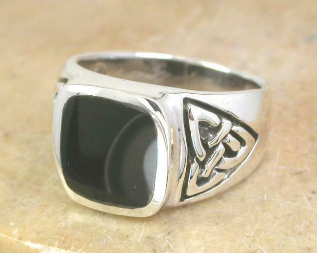 large thick mens sterling silver celtic onyx ring sz 8