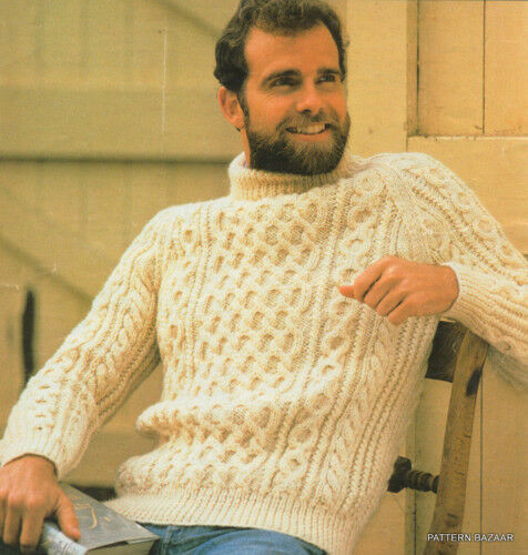 Knitting Pattern Aran Jumper : Classic Fishermans Aran Sweater Pattern 32