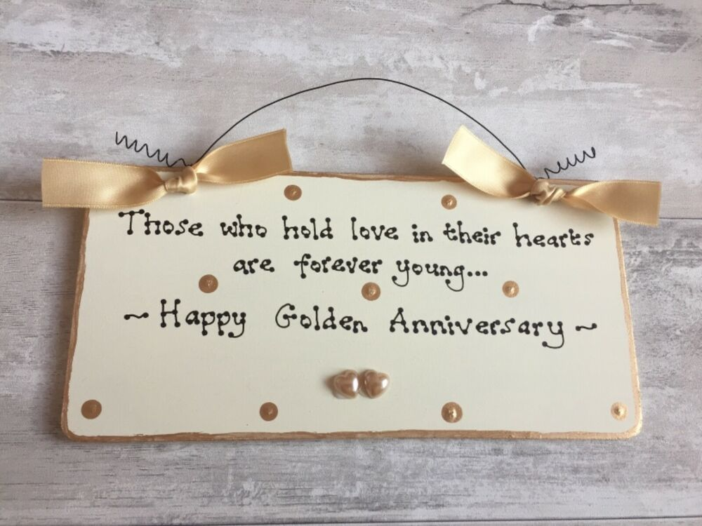 50th Wedding Anniversary Traditional Gifts: GOLDEN 50th WEDDING ANNIVERSARY Gift Present Sign Plaque