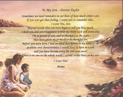 Personalized Poem For Son From Mother Perfect Gift For