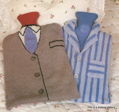 Knitting Pattern For A Hot Water Bottle Cover : Hot Water Bottle Covers to Knit- Suit & Tie and Pyjamas eBay