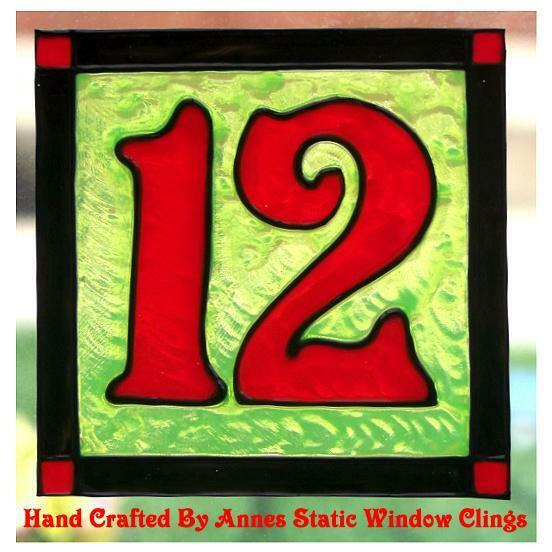 Door house number faux stained glass window cling ebay for Window number