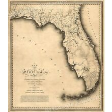 1823 Map of Florida by Charles Vignoles - 24x28