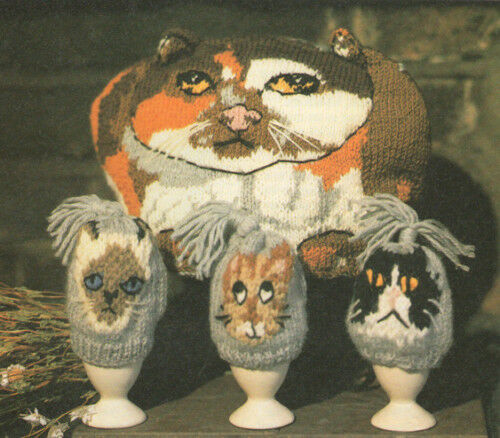 Cat Tea Cosy & Fun Kitten Egg Cosy Knitting Pattern Pattern eBay