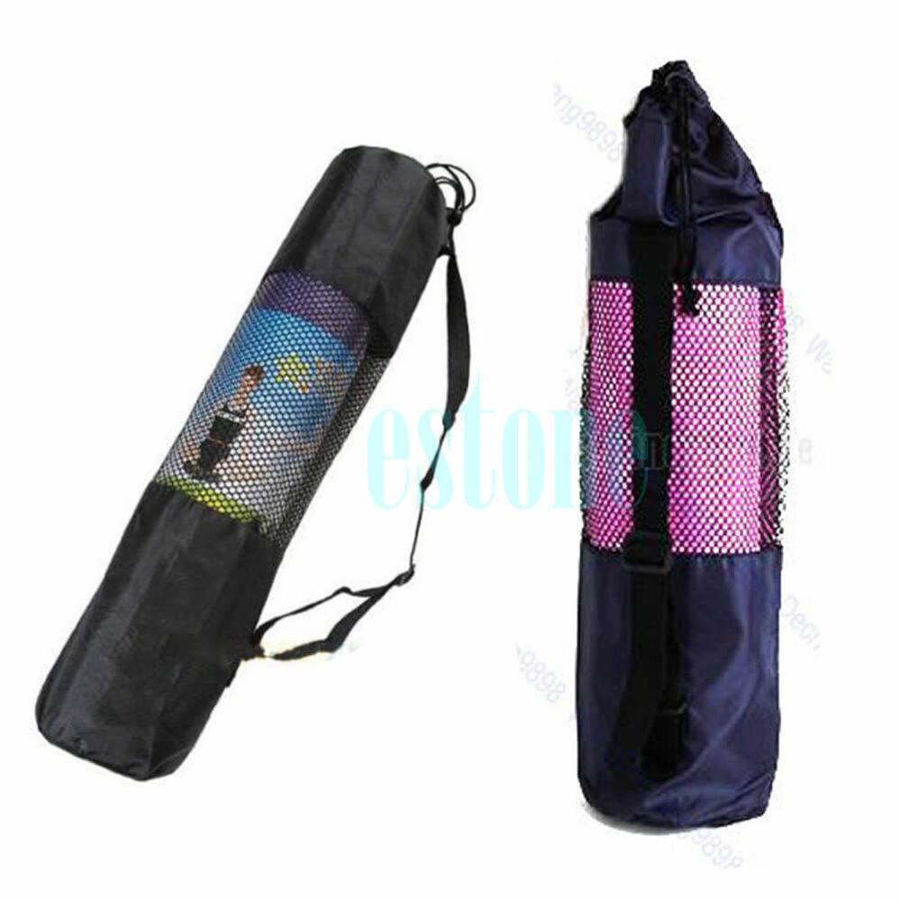 Nylon 26 Inch Yoga Mat Bag Carrier Mesh Center Strap Bk
