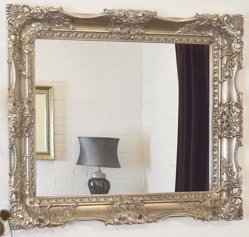 Silver Decorative Ornate Carved Wall Mirror 27 5inch X 23