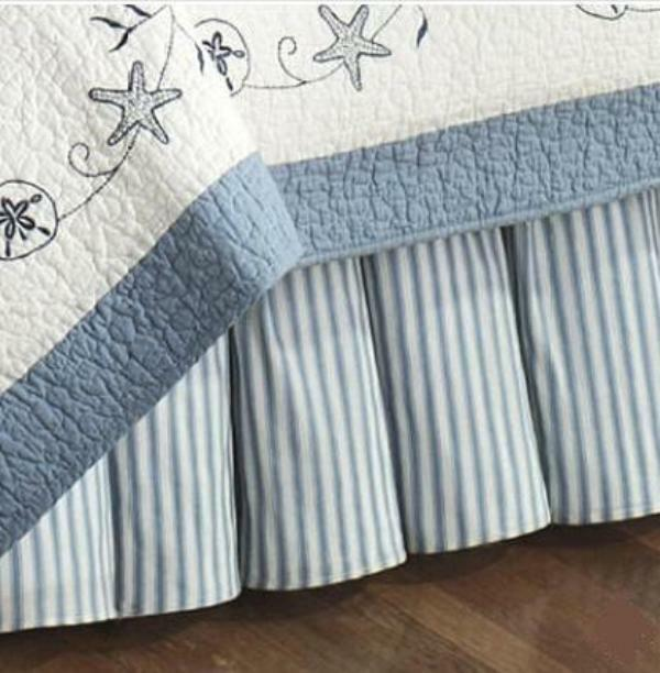 BLUE TICKING STRIPE Twin or Queen BEDSKIRT TREASURES