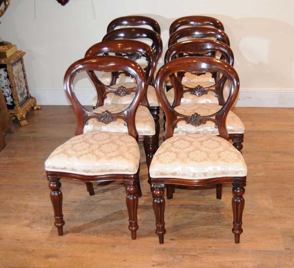 Antique Mahogany Dining Room Furniture: 8 Mahogany Victorian Dining Chairs Balloon Back