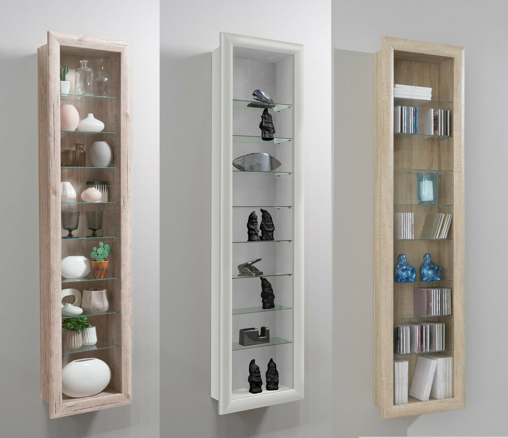 bora wall mounted glass wood display cabinet shelving ebay. Black Bedroom Furniture Sets. Home Design Ideas