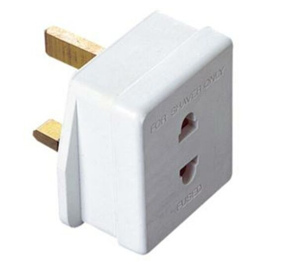 Shaver Socket To Uk 3 Pin Plug Adapter White For Shavers