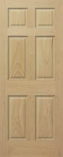 Poplar 6 Panel Raised Traditional Solid Core Stain Grade