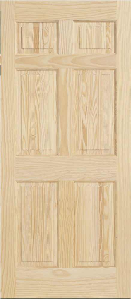6 panel raised clear pine stain grade solid core interior for Prehung interior wood doors