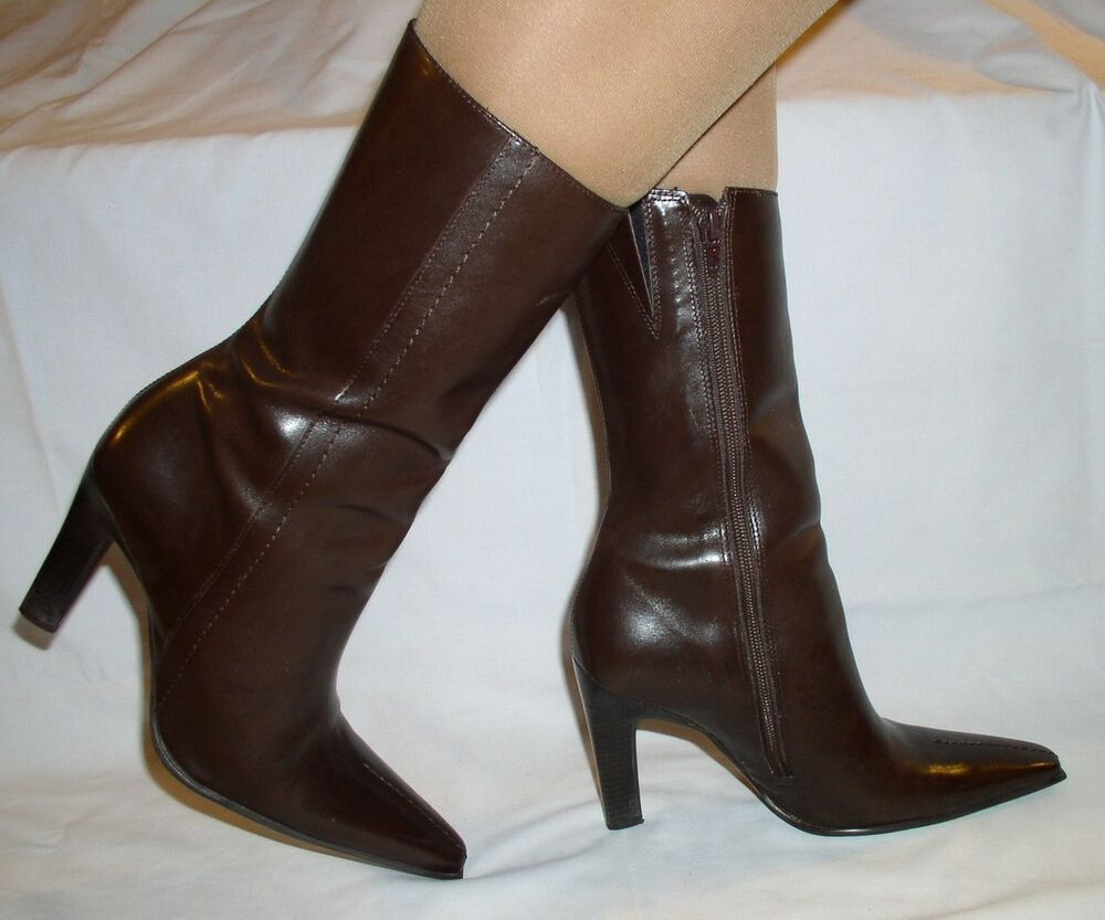 Women Brown Leather Boots Cathy Jean Size 7 5 New 149 Ebay