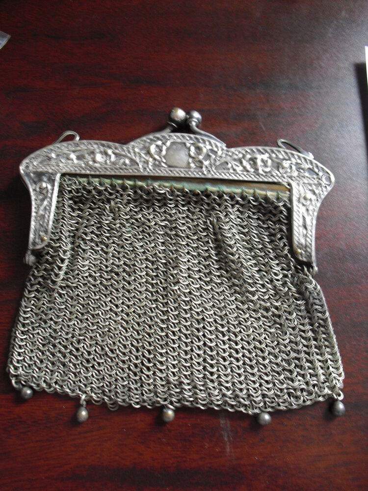 antique whs co german silver mesh purse look